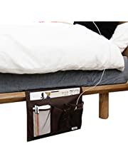 Bedside Caddy Remote Tidy Pocket Sofa Couch Bed Organizer Storage Bag Book Magazine Holder Tablet Storage Phone Remote Glasses Dorm Caddy Bedroom Organizer 4-Pocket