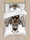 Ambesonne Industrial Duvet Cover Set Twin Size, Stylized Collage with Owl Figure Cog Hardware Gear Machinery Animal Print, Decorative 2 Piece Bedding Set with 1 Pillow Sham, Grey White Brown