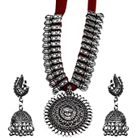 Kaizer Jewelry Oxidised Silver Plated Strand Necklace Set for Women