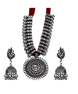 Kaizer Jewelry Antique German Silver Oxidised Plated Tribal Cotton Thread Jewelry Necklace Earring Set for Women & Girls.(Valentine Gift Special). (Red Durga)