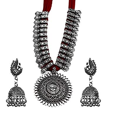 f4ee5c959d Buy Kaizer Jewelry Antique German Silver Tribal Cotton Thread Jewelry  Necklace Earring Set for Women & Girls.(Valentine Gift Special).