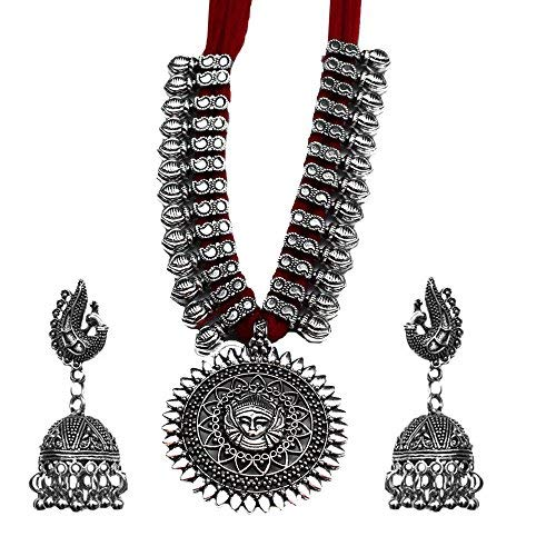 Kaizer Jewelry Oxidized German Silver Alloy and Necklace Earrings Set for Women  amp; Girls  Red