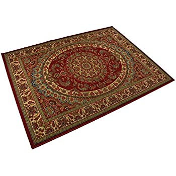Medallion Traditional Persian Oriental Design Runner And Area Rug Red Color  Printed Slip Skid Resistant Rubber