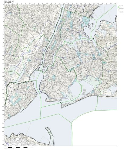 ZIP Code Wall Map of New York, NY ZIP Code Map (New York Zip Code Map)
