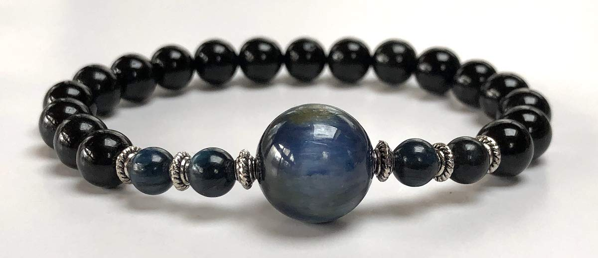 Genuine Natural Black Tourmaline Mala Beads Bracelet || 8 mm Tourmaline || Black Tourmaline Jewelry (8 mm Black Tourmaline and 8 mm Kyanite Mala Beads Bracelet)
