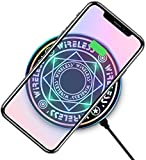 Deamos [2020 UPGRADE] Magic Array Wireless Charger, Ultra-Thin Qi Wireless Charging Pad, 7.5W for iPhone 11 Pro MAX/X/XS/MAX/8/8 Plus, 10W Fast Charging Galaxy S10e Plus/Note 9/S9/S8 Edge and All Qi-Enabled Devices Cool black(QC3.0 ADAPTER INCLUDED)
