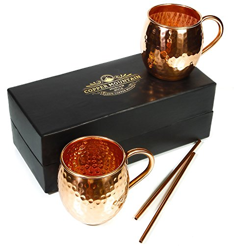 Moscow Mule Mugs – Premium Gift Set of 2 with Straws, Recipes – 16 Ounces – Pure Copper – Hammered Finish – Satisfaction Guarantee by Copper - No Gingers Have Soles