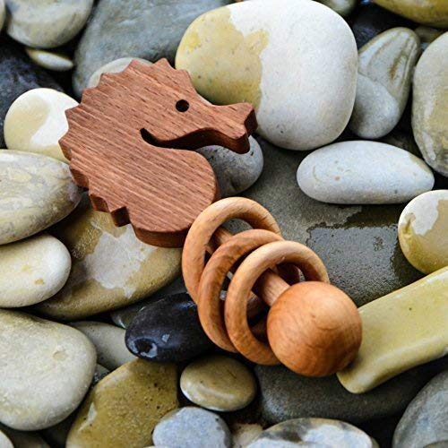 wooden rattle Baby toys Wooden rattle Seahorse