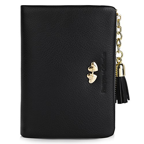 Vbiger Girl's Wallet Candy Color Lovely Short PU Purse for Women (Black 2) (Heart Girl Wallet)