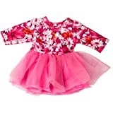 yijing Fasion Doll Clothes Printed Doll Dress Outfit Fit for 18 Inch American Toy Girl Doll Accessory Girl's Toy