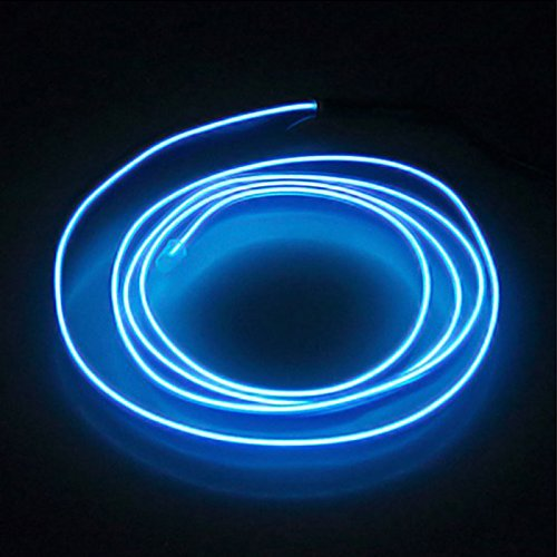 1M Flexible Neon Light Car EL Wire Rope Tube LED Strip Waterproof Car Dance Decor Lamp + USB Controller - Blue Neon Lamp