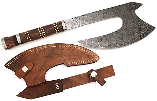 Wild Turkey Handmade Damascus Collection Full Tang Hand-filed AXE Hatchet w/ Leather Sheath Outdoors Hunting Camping