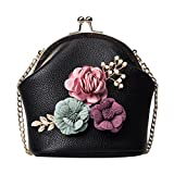 Clearance!BCDshop Women Cute Handbag Shoulder Stereo Flowers Bag Small Lady Tote Purse Cross-Body Bag (Black)