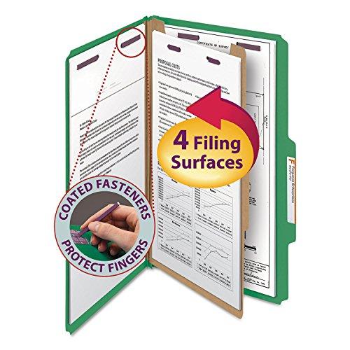 Smead 18733 Pressboard Classification Folders Legal Four-Section Green 10/Box