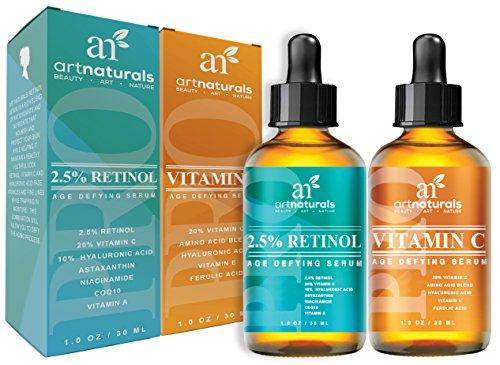 ArtNaturals Organic Vitamin-C and Retinol Serum – (1.0 oz x 2) Holiday Gift Set - Anti Wrinkle & Dark Circle Remover (Morning & Night Anti Aging Therapy) – All Natural and Moisturizing Treatment