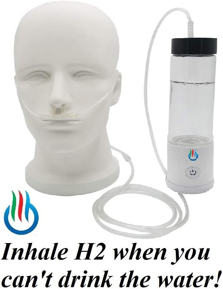 H2 USB Sport MAXX Hydrogen Water Generator with Glass Bottle and Inhaler Adapter White