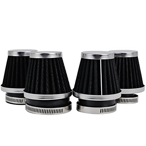 MUYI 4 Pcs 1.97inches Motorcycle Air Filters Round Tapered Clamp-on Pod Intake Filter Cleaner for Yamaha Honda Suzuki Kawasaki Dirt Bike ATV Moped Pit Bike Scooter Vintage(50mm)