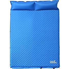Camp Solutions 2 Person Self-Inflating Sleeping Pad with Pillow, Waterproof Lightweight Anti-Tear, for Outdoor Camping,Hiking,Backpacking,Travel 83 THE ULTIMATE 2 PERSON SLEEPING PAD - Measuring 1.2'' thick, this sleeping pad is designed to accommodate 2 adults comfortably. Measures 75.6'' x 51.9'' x 1.2'' when fully inflated. BUILT IN PILLOWS - This 2 person sleeping pad features 2 built in pillows for your convenience. Not having to pack extra pillows on your camping adventures means a lighter pack for you and your family! LIGHTWEIGHT AND COMPACT - Although it's a sleeping pad big enough for 2 adults, it only weighs 5.18lbs! Carry bag included and packs down to 26.77'' x 7.87'' x 7.87''.