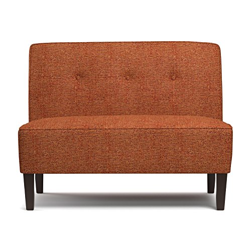 - Traditional Highland Umatilla Button Tufted Orange Tweed Settee with Polyester