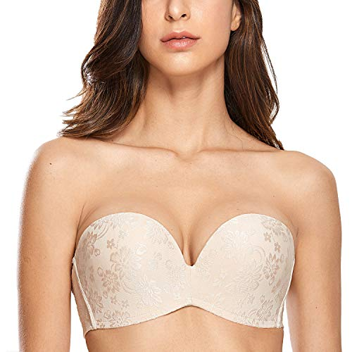 DELIMIRA Women's Slightly Lined Lift Great Support Strapless Bra Plus Size Beige_Jacquard - Underwire Strapless