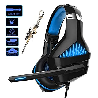Pro Gaming Headset for PC PS4 Xbox One Surround Sound Over-Ear Headphones with Mic LED Light Bass Surround Soft Memory Earmuffs for Computer Laptop Switch Games Kid's Boy's Teen's Gifts