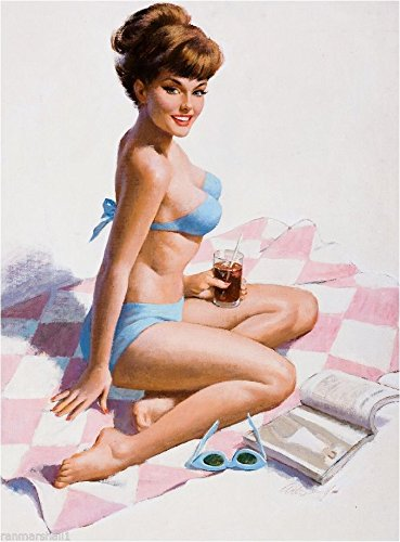A SLICE IN TIME 1940s Pin-Up Girl Beach Blanket Bingo Picture Poster Print Art Pin Up