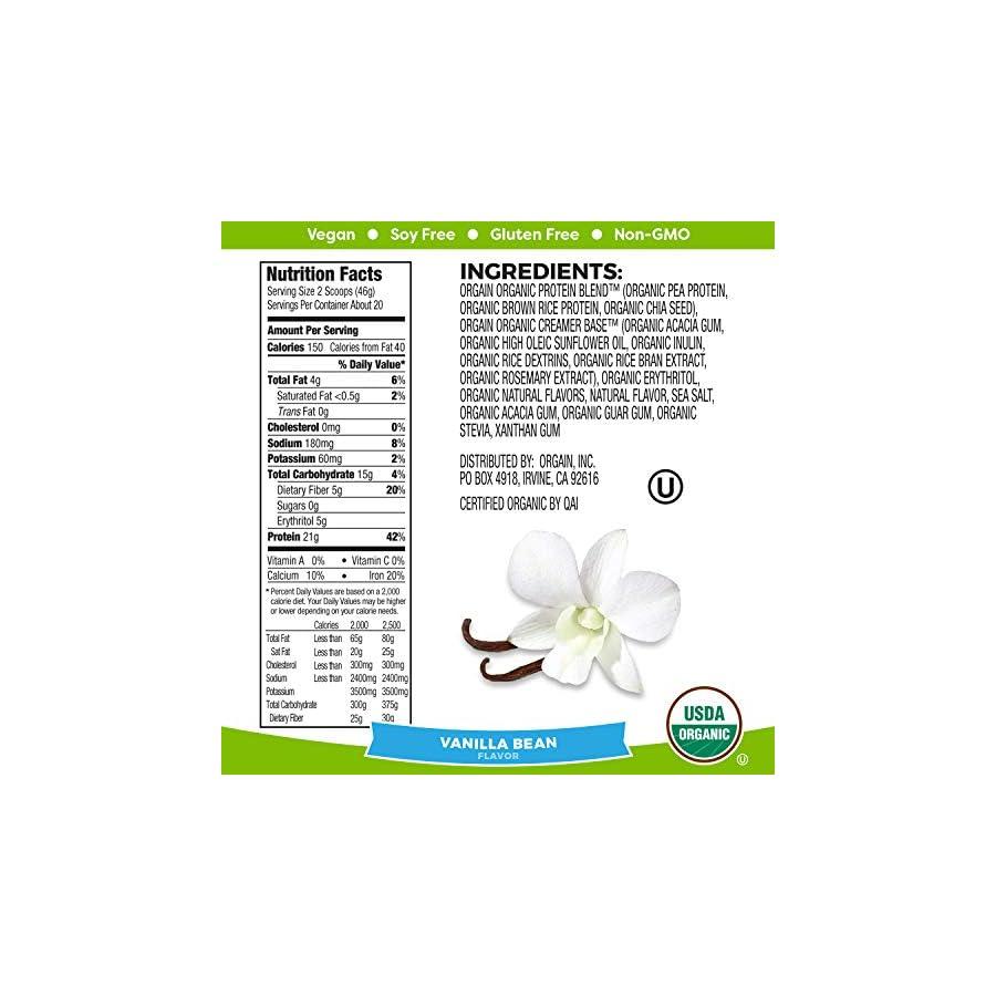 Orgain Organic Plant Based Protein Powder, Vanilla Bean, Vegan, Gluten Free, Kosher, Non GMO, 2.03 Pound, Packaging May Vary