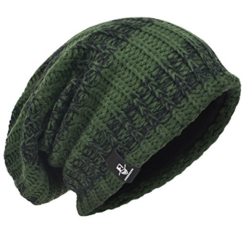 (VECRY Men's Cool Cotton Beanie Slouch Skull Cap Long Baggy Hip-hop Winter Summer Hat (Stripe-Green))