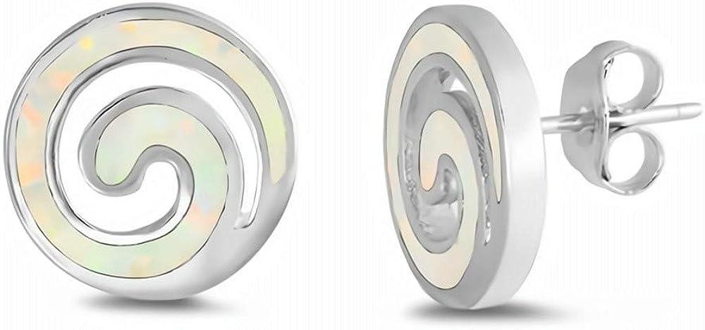 Gemlings Pendientes de ópalo creados con plata fina [Blanco] [espiral] | Lindo regalo de joyería