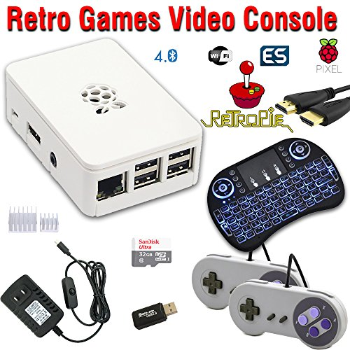RetroBox - Raspberry Pi 3 Based Retro Game Console, RetroPie 32GB Edition with Heatsinks, Combo with Backlit Wireless Keyboard/Mouse by Crisp Concept Ltd.