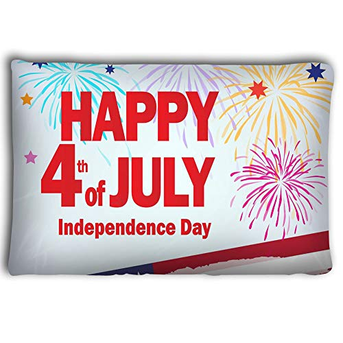 Zhangshpoing Pillow Cases Independence Day Patriotic Poster Happy Greeting Card Congratulations Banner Celebrate American Holiday Memorial 2030inch -