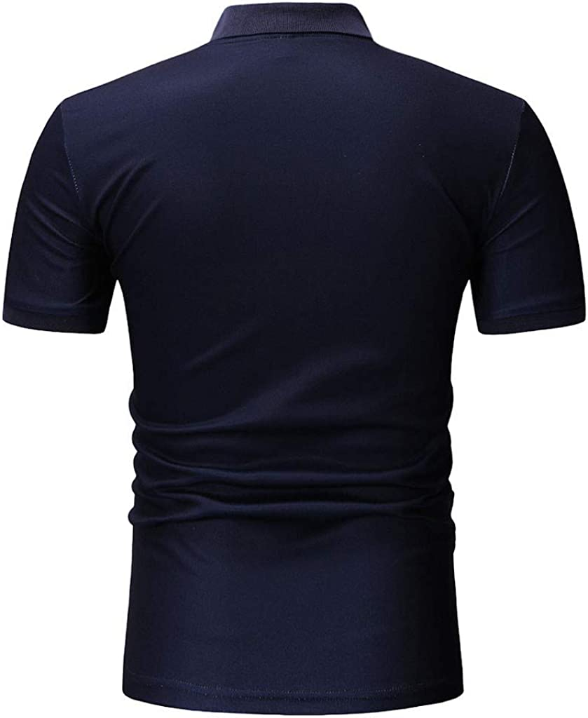 Men Summer T Shirts,Mens Spring Winter Stand Collar Fashion Casual Short Sleeve Button Slim Top