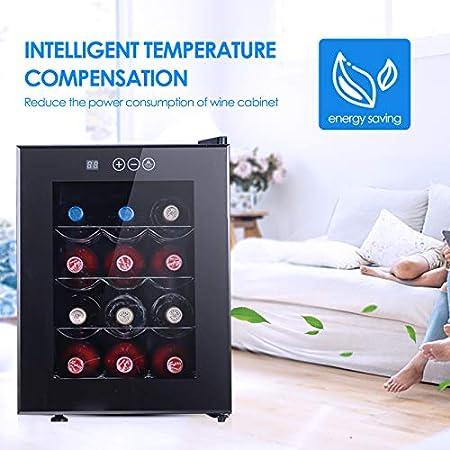 BITOWAT Botellero de vino compacto con termostato integrado, controles de pantalla táctil digitales y nevera para vino de mesa con iluminación LED