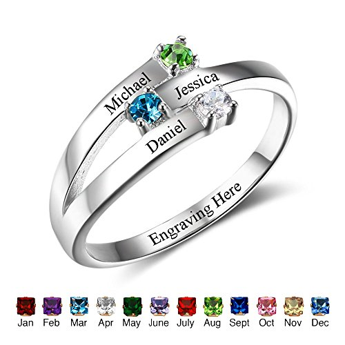 Family Jewelry Personalized Engrave Names Engagement Mother Rings with Simulated Birthstone for Her (Mothers Name Birthstone Rings)