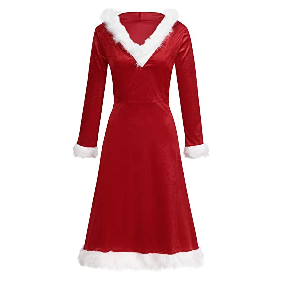 Christmas Dress, Chiansee Women Hooded Fur Collar Dress ...