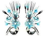 Flourish 794279 QH1 Matching Pair of Silver Vases with Teal Blue Nylon Artificial Flowers in Vases Fake Flowers Ornaments Small Gift Home Accessories 32cm by Flourish
