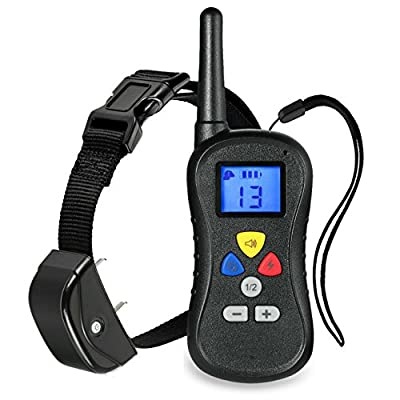 """JJX-TECHâ""""¢ Wireless LCD Remote Dog Training Collar LCD 330 Yards Water Resistant from 25 to 100 lbs, with Safe Beep, Vibration and Shock Electronic Collar with Silicone, Visible Control Buttons"""
