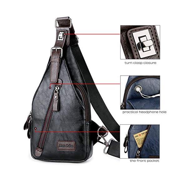 Alena Culian Sling Backpack Men Leather Chest Bag Crossbody Shoulder Bag For Men(black) 16