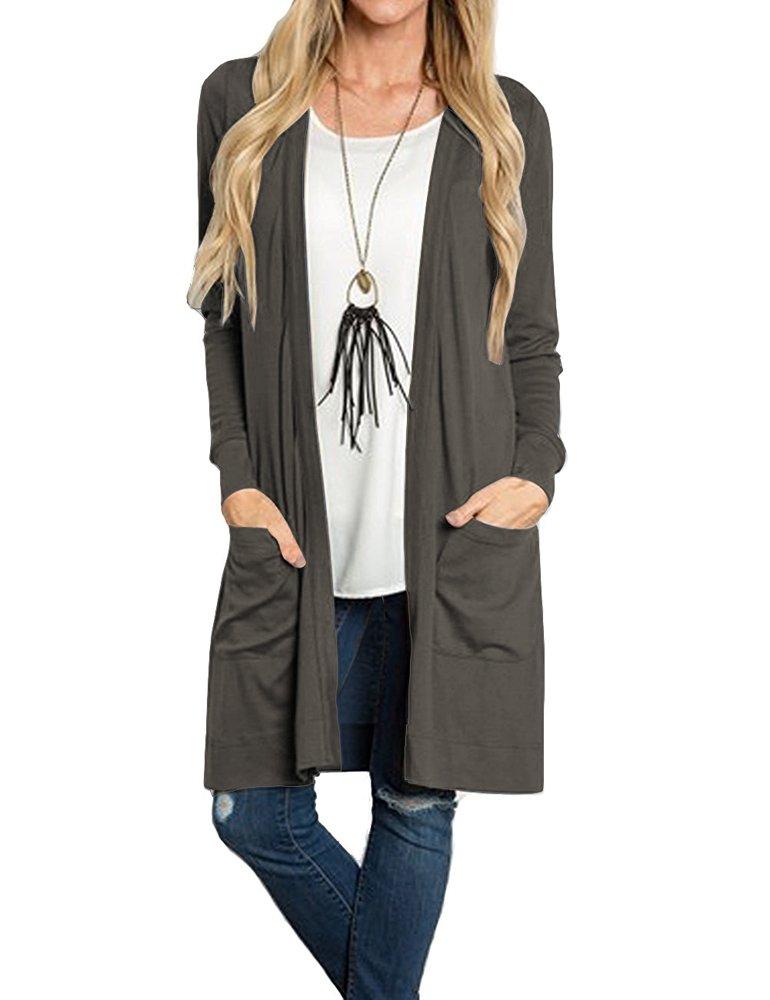 Tribear Women's Long Sleeve Open Front Loose Causal Lightweight Kimono Cardigan (Large, NavyGray)
