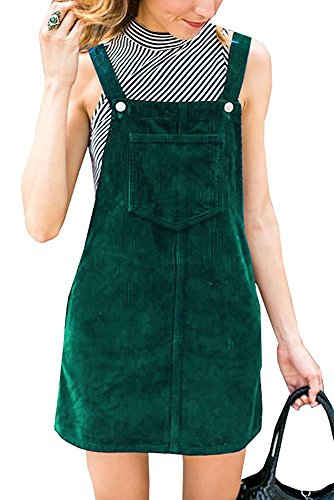 TinyChic Women's Pinafore Dress Straps A-line Corduroy Skirt Bib Pocket Overall Dress Green S