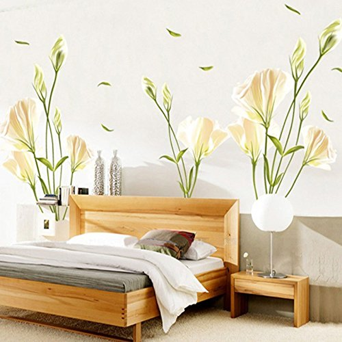money-coming-shop-lily-flowers-wall-sticker-on-the-wall-vinyl-wall-stickers-gome-decor-bedroom-backd