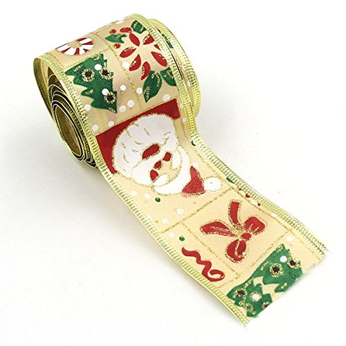 2 Meters 5CM wide Santa Claus Sock Design Print Ribbon Decoration Gift Christmas Ribbons - Christmas Wrapping Ribbon - In Chicago Best Malls