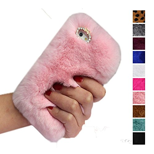 for iPhone 5 Case,5S Case,SE Cover, Fast Jewelry Luxury Fur Bling Diamond Phone Cases Plush Hair Smooth Soft Fluffy Back Cover Case - Pink