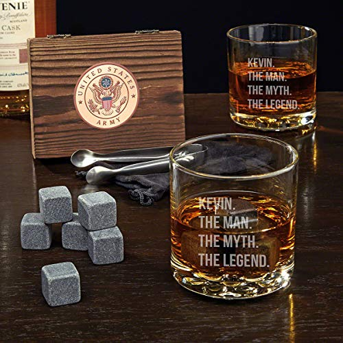 Army Custom Whiskey Stone Set and Buckman Glasses