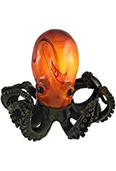 Swirled Amber Glass Octopus Accent Lamp Bronzed Base