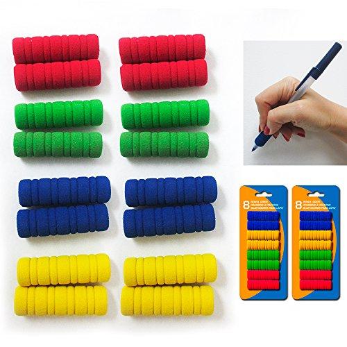 (16 Groovy Foam Pencil Grips Pen Comfort Soft Sponge Children School Handwriting)