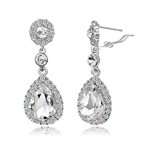 Gorgeous Austrian Cut Crystal Rhinestone Pierced Ear Clip Wedding Bridal Teardrop Drop Dangle Earrings (Ear Clip White) (Rhinestone Clip Drop)