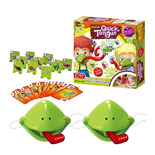 VANOKA Catch Bugs Board Game, Funny Family Chameleon Sticking Tongue Toys, Funny Quick Tongue Game,Families Interactive Puzzle Card Game for Boys Girls Kids Adults Green