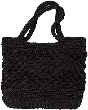 TENDYCOCO Bolso Tejido de Paja Bolsa de algodón portátil para la Playa Bolsos Hechos a Mano Capacidad Tejida Messenger Bag Purse (Negro): Amazon.es: Equipaje