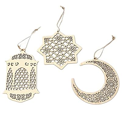 Islam Eid Ramadan Mubarak Hollow Decorations Wooden Golden Hanging Lantern Baubles Festive DIY Home Decorations: Toys & Games